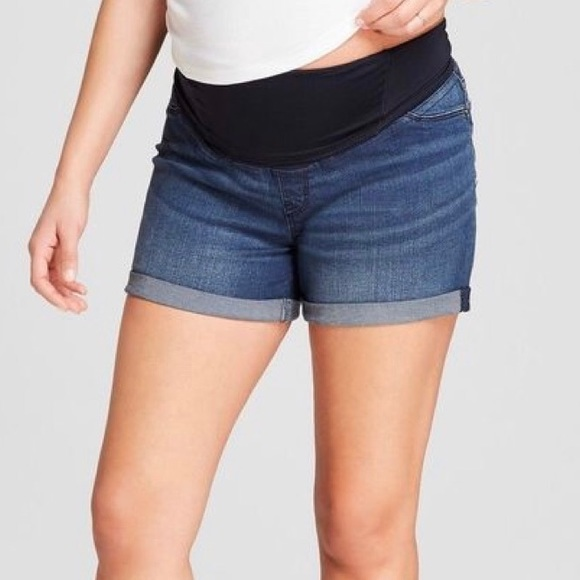 NEW Maternity a:glow Jean Boyfriend Cuffed Shorts Size 14